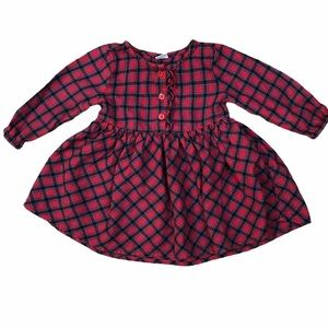 Old Navy Sz 6-12 mos Dress Red Plaid Flannel Tunic